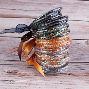 Wholesale Jelly Glitter Bangle Rainbow Acetate Bead Bracelet Summer Jewelry Set
