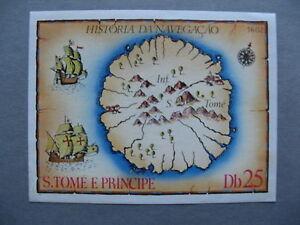ST THOMAS AND PRINCE ISL, S/S 1979 hinged, history of navigation, map