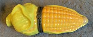 Adorable Ceramic Corn 🌽 Hinged Trinket Box
