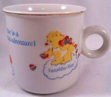 Vtg Care Bears Coffee Mug Funshine Bedtime Friend Bear Gold Trim Porcelain 80s