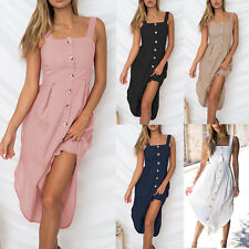 Womens Holiday Strappy Button Ladies Summer Beach Casual Midi Swing Sun Dress AU