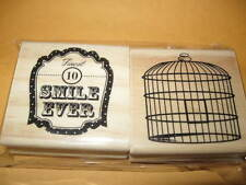 NEW Two Rubber STAMPS Birdcage & Finest Smail Ever mounted on wood stamp set 2
