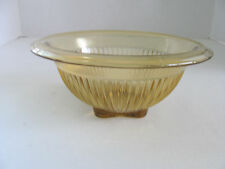 YELLOW DEPRESSION RIBBED GLASS SERVING OR MIXING BOWL