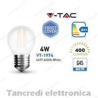 Lampadina led V-TAC 4W E27 bianco freddo 6400K VT-1974 G45 bianca filamento