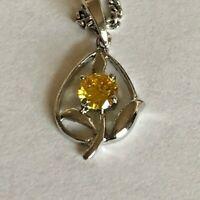 Vintage SARAH COV Yellow Stone Silver Tone Flower Pendant Chain Necklace