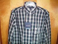NWT NEW mens blue green white plaid CROFT & BARROW classic fit l/s dress shirt