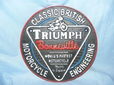 Triumph Cast Iron Sign Man Cave Garage Fence Wall Sign Plaque Sign