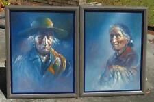 """1972 Navajo Artist David Johns Native American Portraits - Oils - @ 21"""" X 27"""" ea"""