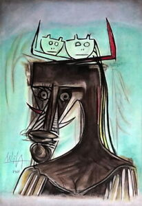 WILFREDO LAM Amazing Pastel on Paper, Art Drawing Signed and Dated 1960