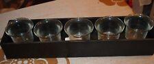 1 Metallhalter mit 5 Glas-Teelichtbechern, NEU