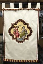 "Antique French Silk Hand Embroidery Christian Vestment Chasuble Banner 23""X 38"""