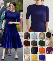 Meghan Markle Loved Crew Neck Knitted Top Elbow Length Sleeve Knitwear T-shirt