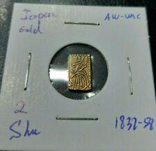 Japan 1832 - 58  2 Shu Gold Uncirculated AU-Unc Samurai Tokugawa Era Coin