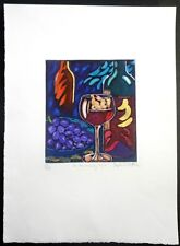 Wine-Still Life-Stephan Whittle-Hand Colored Etching-Signed Ltd./Ed.-Art-Prints