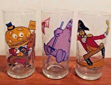 Lot of 3 Vintage 1977 McDonald's McDONALDLAND Action Series Glasses EUC