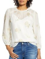 LUCKY BRAND NEW  Metallic Floral Top Blouse White & Gold