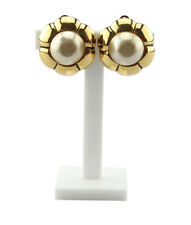 Chanel Vintage Faux Pearl Gold-tone Clip-on Earrings
