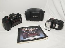 Nishika N8000 3D stereo camera kit with case, flash, and instr. Clean. GWO.