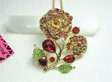 Betsey Johnson Red Enamel and Rhinestone Pendant/Necklace/Brooch- New With Tags
