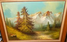 SNOW GLACIER MOUNTAIN DRY RIVER BED ORIGINAL OIL ON CANVAS LANDSCAPE PAINTING