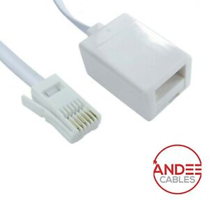 BT Extension UK Socket to Plug Telephone Cable Extender Phone Fax Modem 2m - 20m