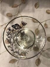 Vintage Glass Candy Dish Floral Pattern