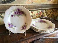 Vintage English Porcelain Set of 4 Tea Plates Floral Design