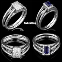 100% NATURAL 5X3MM IOLITE & CUBIC ZIRCONIA SWITCHABLE SILVER 925 RING SIZE 6