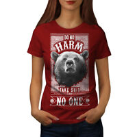Wellcoda Bear Harm Womens T-shirt, Funny Casual Design Printed Tee