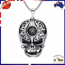 New Retro Skull Pendant Necklace Compass travel Motorcyclist Men Gift