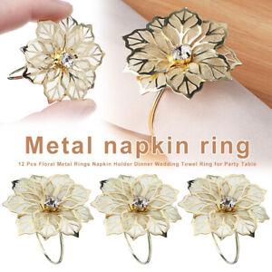 12 Pcs Floral Metal Rings Napkin Holder Party Table Dinner Wedding Towel Ring UK