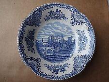 Johnson Bros England 1883 Stamp Blue OLD BRITAIN CASTLE Dessert Bowl/s (loc-D36)