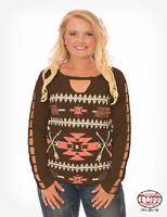 Cowgirl Tuff Women's Chocolate & Coral Thermal Strap Long Sleeve Tee 100162 SALE