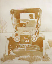 "Nancy Leslie ""Tin Lizzy"" Signed Numbered Artwork Etching Ford Model T car, OBO!"