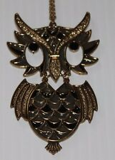 Owl Necklace vintage articulated dangling statement piece retro long chain owls