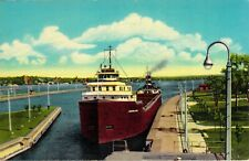 Modern Freighter Entering MacArthur Lock Unused Ontario Michigan Chrome Postcard