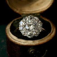 2.38 Ct Round Cut Diamond 14K Yellow Gold Flower Cluster Engagement Ring