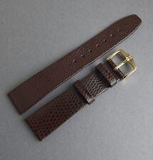 HIRSCH en cuir marron lézard grain 18 mm Bracelet de montre vintage moderne ou montre