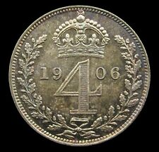 More details for edward vii 1906 silver maundy fourpence - unc