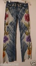 NEW TRIPPYZ Blue Denim Hand Painted Floral Low Rise Bell Bottom Jeans Pants 26W