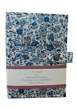 Small Little Book Of Earrings Blue Flower 2 Page Jewellery Box Travel Size Gift