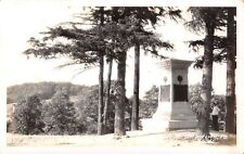 Uniontown Pennsylvania~Man at General Braddock Grave & Monument~1930s RPPC