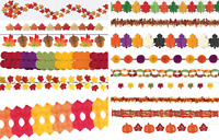 Thanksgiving Paper Decorations Hanging Garland Autumn Leaves Fall Holiday Party