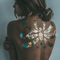 Flash Boho Metallic Gold Feathers Shimmering Jewellery Festival Temporary Tattoo