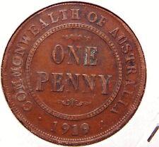 Australia 1919 Penny Dot Below Scroll VF++ to XF Grade Nice Orig Coin w/ Patina