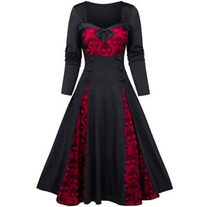 Womens Halloween Party Costume Dress Vintage Lace Gothic Skater Ladies Dress