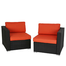 2 Pcs Outdoor Patio Loveseat Garden Pe Rattan Wicker Furniture Sectional Sofa