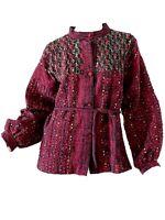 Vintage 70s Boho Hippie Macrame Embroidered Kimono Wrap Belted Jacket Medium