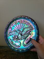 Carnival Glass Bicentennial Plate with Eagle, Blue