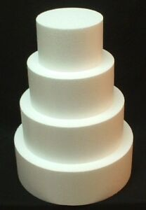 "4pc set ROUND CAKE DUMMY 4"" Thick 6"" 8"" 10"" 12"" EPS Foam Wedding Styrofoam Fake"